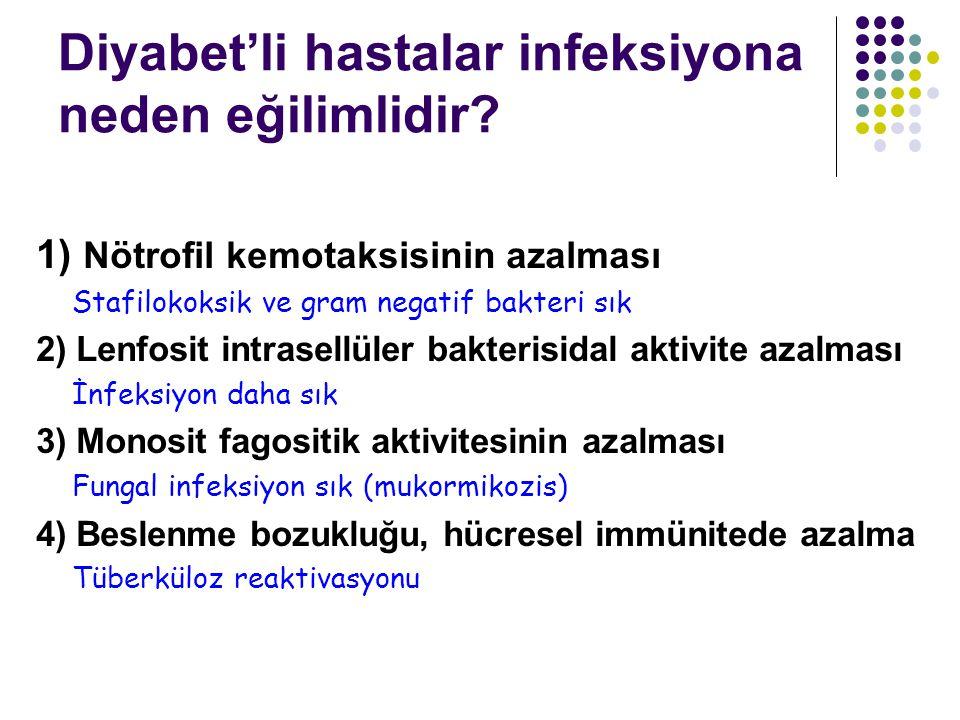 Diyabet'li hastalar infeksiyona neden eğilimlidir? 1) Nötrofil kemotaksisinin azalması Stafilokoksik ve gram negatif bakteri sık 2) Lenfosit intrasell