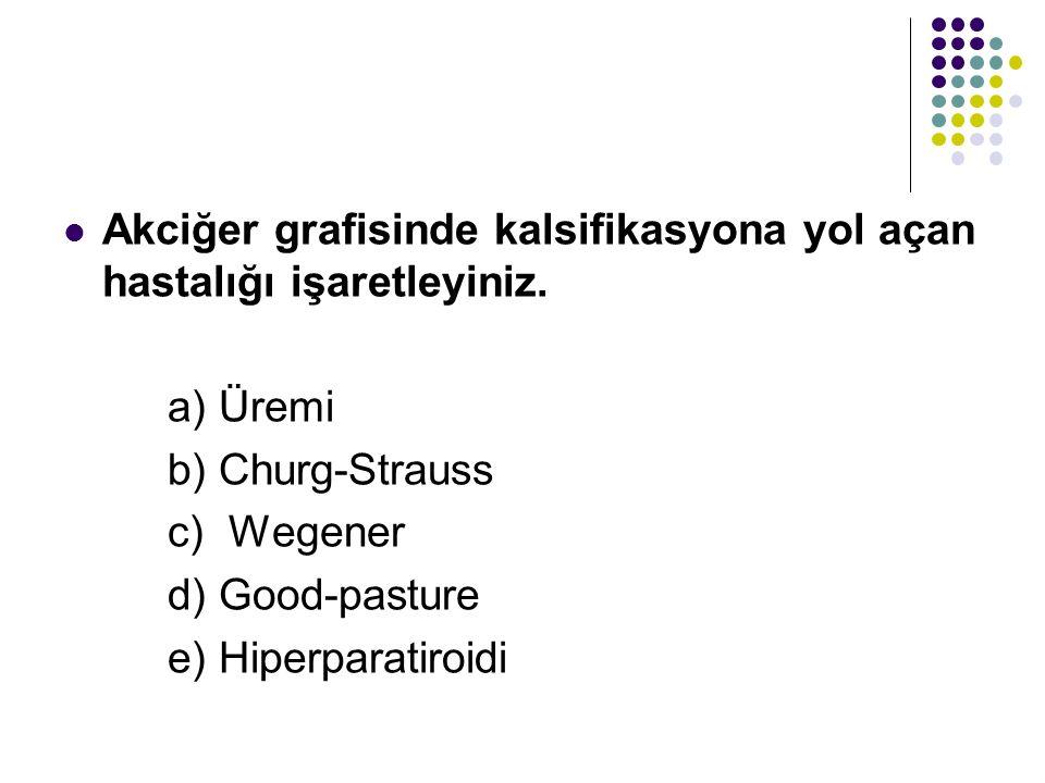 Akciğer grafisinde kalsifikasyona yol açan hastalığı işaretleyiniz. a) Üremi b) Churg-Strauss c) Wegener d) Good-pasture e) Hiperparatiroidi