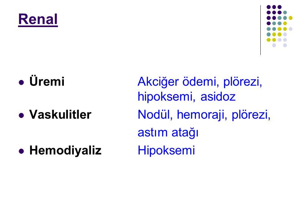 Renal ÜremiAkciğer ödemi, plörezi, hipoksemi, asidoz VaskulitlerNodül, hemoraji, plörezi, astım atağı HemodiyalizHipoksemi