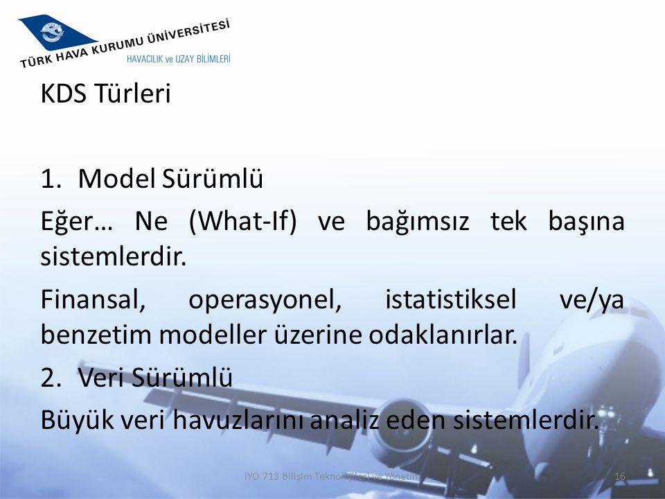KDS Türleri 1.Model Sürümlü Eğer… Ne (What-If) ve bağımsız tek başına sistemlerdir. Finansal, operasyonel, istatistiksel ve/ya benzetim modeller üzeri