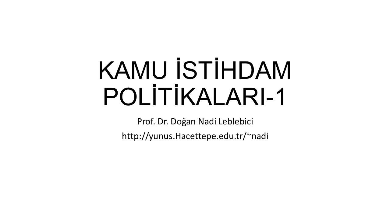 KAMU İSTİHDAM POLİTİKALARI-1 Prof. Dr. Doğan Nadi Leblebici http://yunus.Hacettepe.edu.tr/~nadi