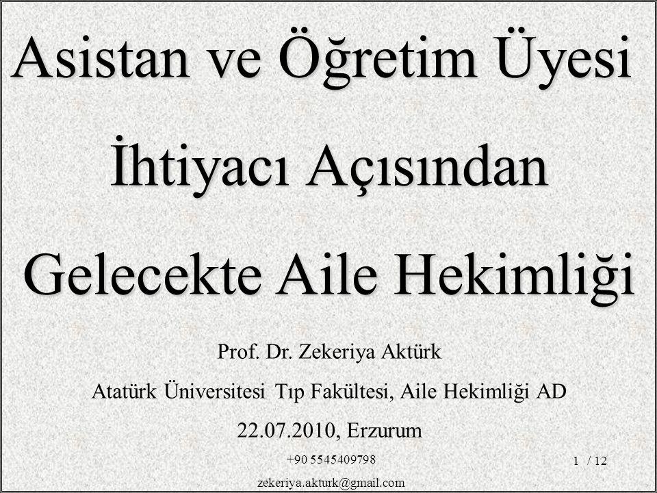 / 121 Prof. Dr. Zekeriya Aktürk Atatürk Üniversitesi Tıp Fakültesi, Aile Hekimliği AD 22.07.2010, Erzurum Asistan ve Öğretim Üyesi İhtiyacı Açısından