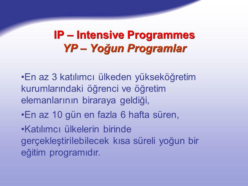 IP – Intensive Programmes YP – Yoğun Programlar En az 3 katılımcı ülkeden yükseköğretim kurumlarındaki öğrenci ve öğretim elemanlarının biraraya geldiği, En az 10 gün en fazla 6 hafta süren, Katılımcı ülkelerin birinde gerçekleştirilebilecek kısa süreli yoğun bir eğitim programıdır.