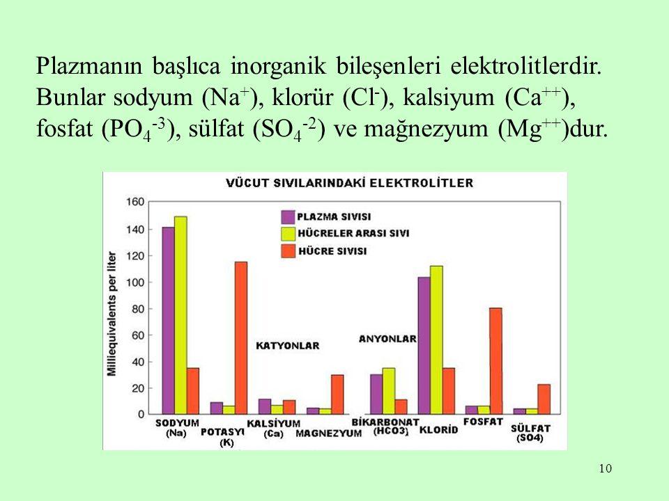 10 Plazmanın başlıca inorganik bileşenleri elektrolitlerdir. Bunlar sodyum (Na + ), klorür (Cl - ), kalsiyum (Ca ++ ), fosfat (PO 4 -3 ), sülfat (SO 4