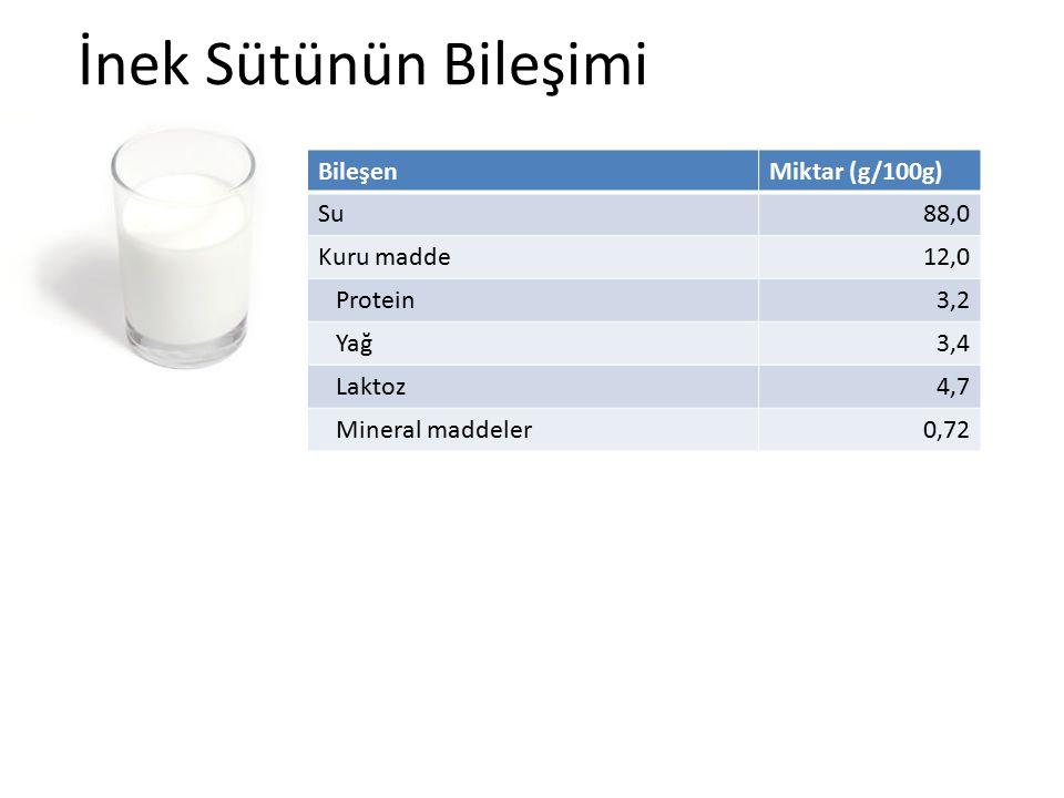 İnek Sütünün Bileşimi BileşenMiktar (g/100g) Su88,0 Kuru madde12,0 Protein3,2 Yağ3,4 Laktoz4,7 Mineral maddeler0,72