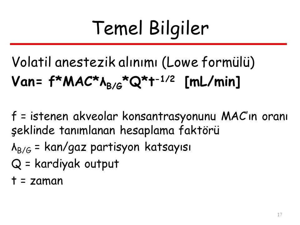 Temel Bilgiler Volatil anestezik alınımı (Lowe formülü) Van= f*MAC*λ B/G *Q*t -1/2 [mL/min] f = istenen akveolar konsantrasyonunu MAC'ın oranı şeklinde tanımlanan hesaplama faktörü λ B/G = kan/gaz partisyon katsayısı Q = kardiyak output t = zaman 17