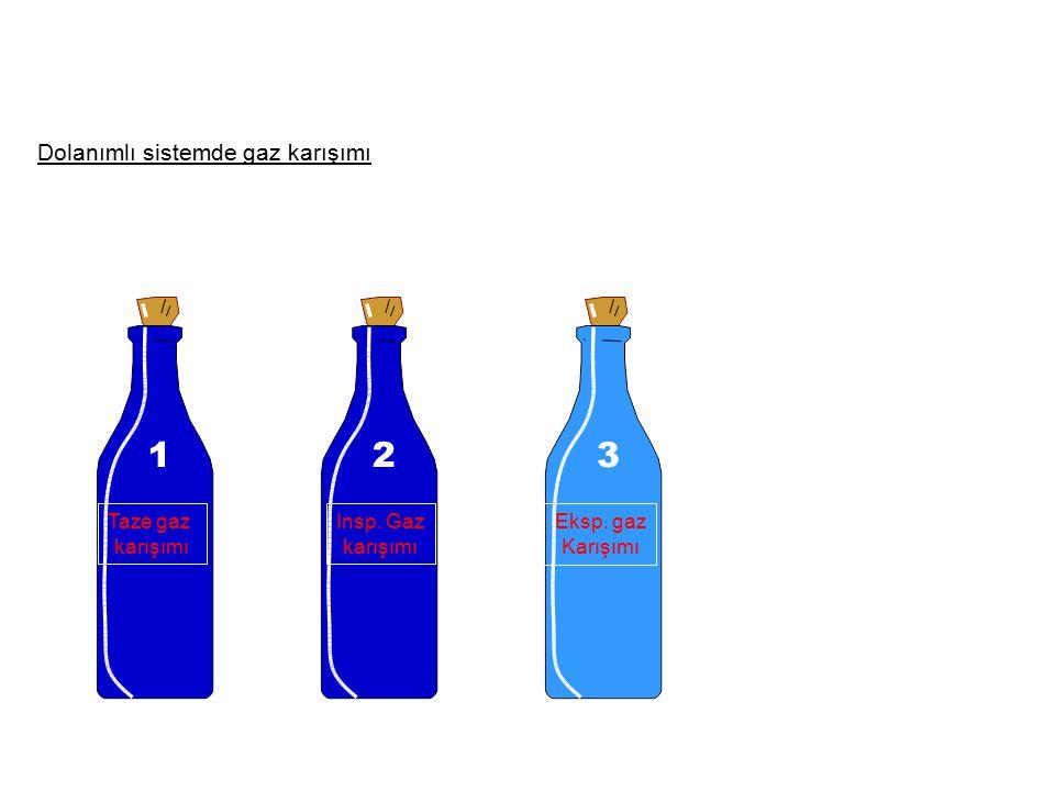 Dolanımlı sistemde gaz karışımı Taze gaz karışımı Insp. Gaz karışımı Eksp. gaz Karışımı 123