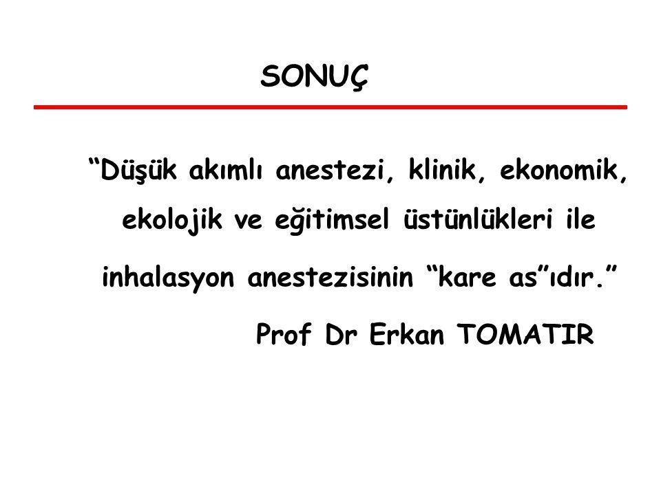 Düşük akımlı anestezi, klinik, ekonomik, ekolojik ve eğitimsel üstünlükleri ile inhalasyon anestezisinin kare as ıdır. Prof Dr Erkan TOMATIR SONUÇ