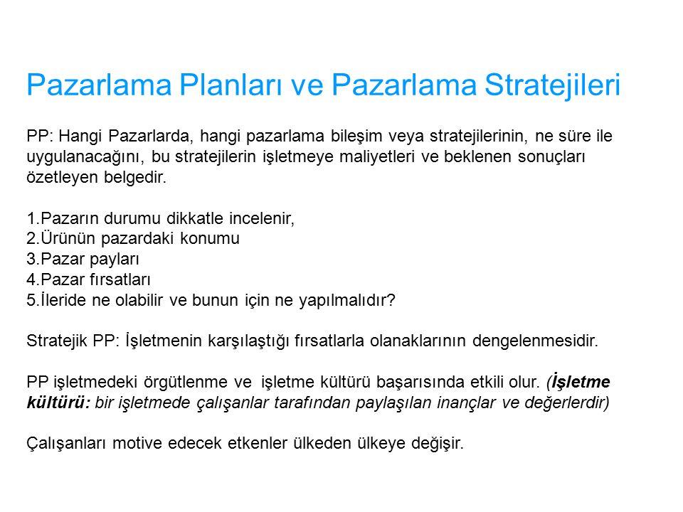 Pazarlama Planları ve Pazarlama Stratejileri PP: Hangi Pazarlarda, hangi pazarlama bileşim veya stratejilerinin, ne süre ile uygulanacağını, bu strate