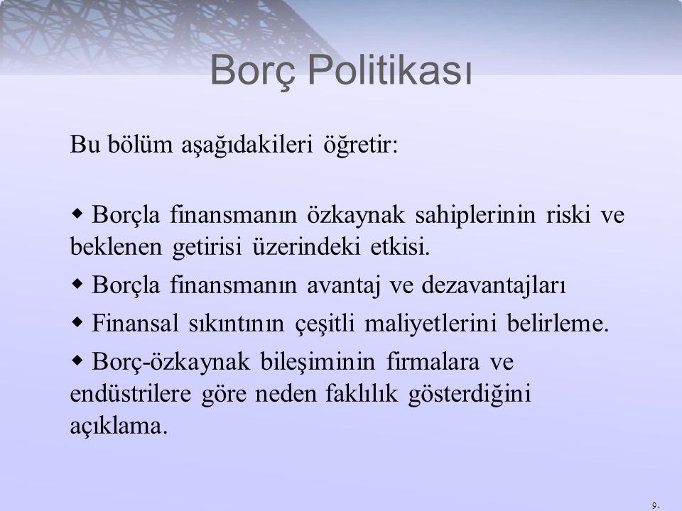 9- Bu bölüm aşağıdakileri öğretir:  Borçla finansmanın özkaynak sahiplerinin riski ve beklenen getirisi üzerindeki etkisi.  Borçla finansmanın avant