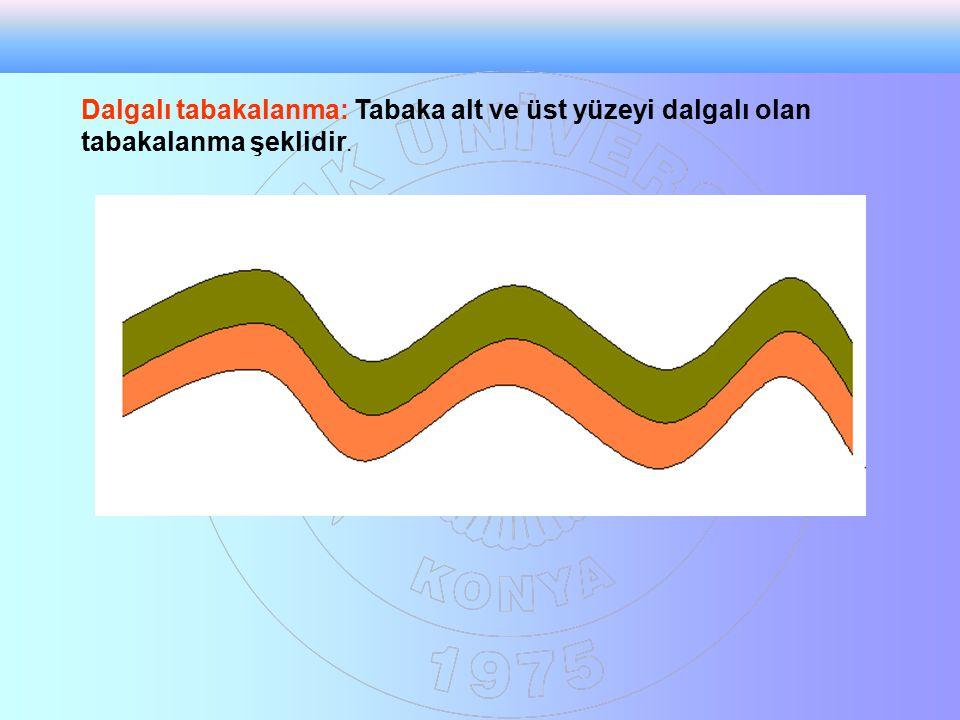 Dalgalı tabakalanma: Tabaka alt ve üst yüzeyi dalgalı olan tabakalanma şeklidir.