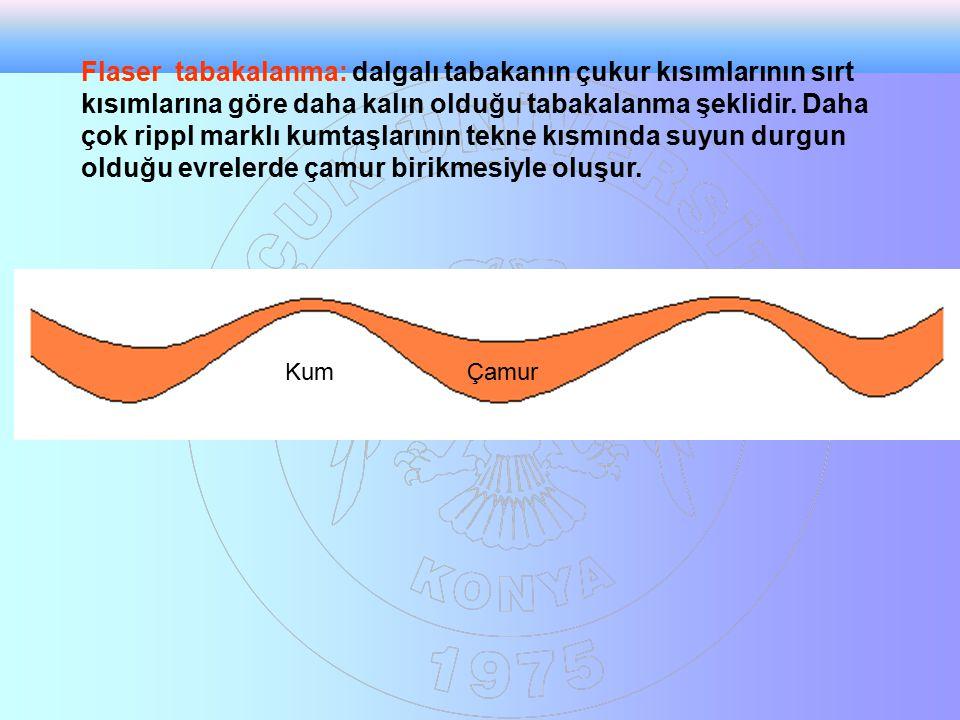 Flaser tabakalanma: dalgalı tabakanın çukur kısımlarının sırt kısımlarına göre daha kalın olduğu tabakalanma şeklidir. Daha çok rippl marklı kumtaşlar