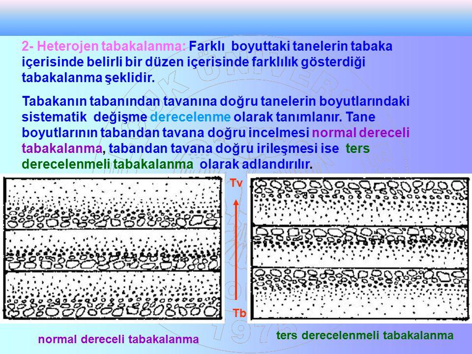 2- Heterojen tabakalanma: Farklı boyuttaki tanelerin tabaka içerisinde belirli bir düzen içerisinde farklılık gösterdiği tabakalanma şeklidir. Tabakan