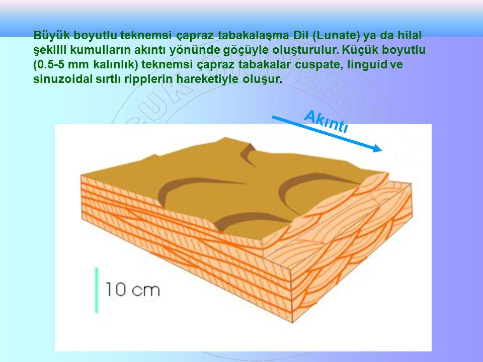 Akıntı Büyük boyutlu teknemsi çapraz tabakalaşma Dil (Lunate) ya da hilal şekilli kumulların akıntı yönünde göçüyle oluşturulur. Küçük boyutlu (0.5-5