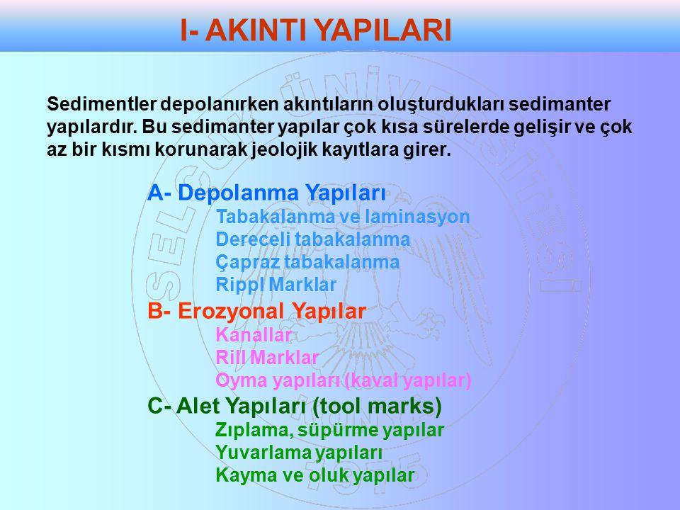 A- Depolanma Yapıları Tabakalanma ve laminasyon Dereceli tabakalanma Çapraz tabakalanma Rippl Marklar B- Erozyonal Yapılar Kanallar Rill Marklar Oyma