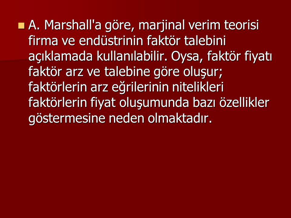 A. Marshall'a göre, marjinal verim teorisi firma ve endüstrinin faktör talebini açıklamada kullanılabilir. Oysa, faktör fiyatı faktör arz ve talebine