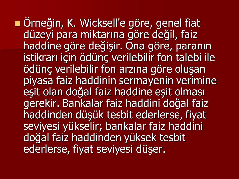 Örneğin, K. Wicksell'e göre, genel fiat düzeyi para miktarına göre değil, faiz haddine göre değişir. Ona göre, paranın istikrarı için ödünç verilebili