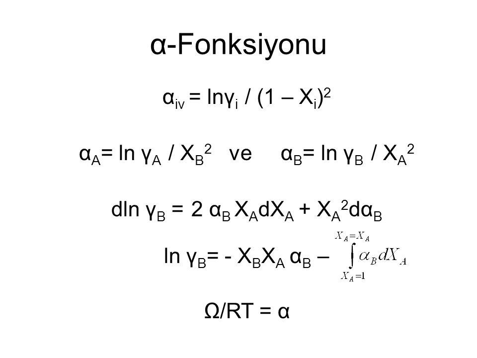 α-Fonksiyonu α iv = lnγ i / (1 – X i ) 2 α A = ln γ A / X B 2 ve α B = ln γ B / X A 2 dln γ B = 2 α B X A dX A + X A 2 dα B ln γ B = - X B X A α B – Ω