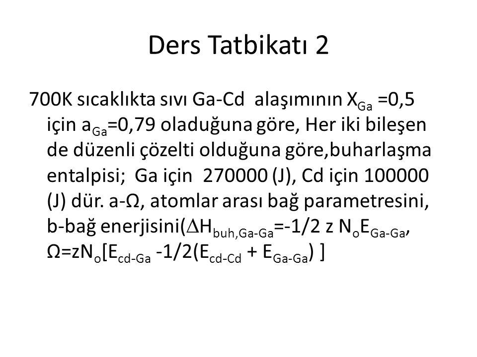 Ders Tatbikatı 2 700K sıcaklıkta sıvı Ga-Cd alaşımının X Ga =0,5 için a Ga =0,79 oladuğuna göre, Her iki bileşen de düzenli çözelti olduğuna göre,buha