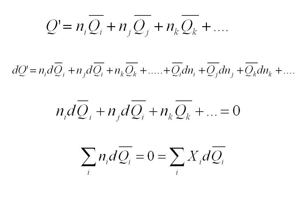 İKİ BİLEŞENLİ ÇÖZELTİDE SERBEST ENERJİNİN BİLEŞENLE DEĞİŞİMİ T=Sabit, P=Sabit A - B Çözeltisinde Serbest enerji; G'=n A + n B G=X A + X B dG = X A d + X B d + dX A + dX B Gibbs-Duhem'e göre; X A d + X B d =0