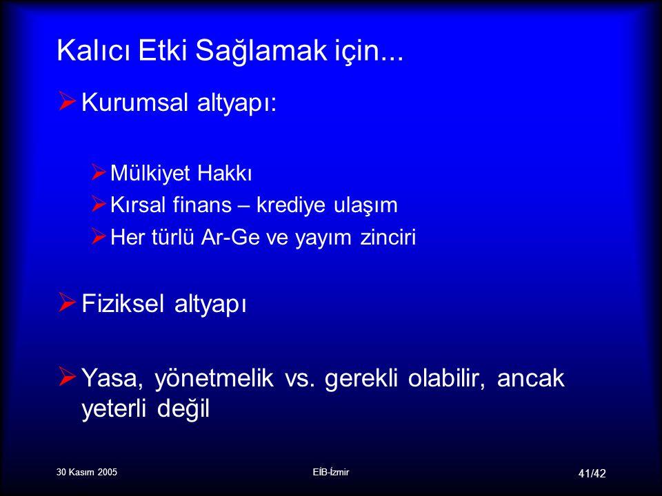30 Kasım 2005EİB-İzmir 41/42 Kalıcı Etki Sağlamak için...
