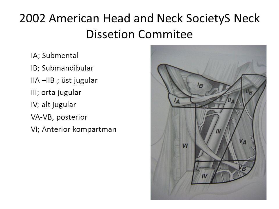 2002 American Head and Neck SocietyS Neck Dissetion Commitee IA; Submental IB; Submandibular IIA –IIB ; üst jugular III; orta jugular IV; alt jugular VA-VB, posterior VI; Anterior kompartman