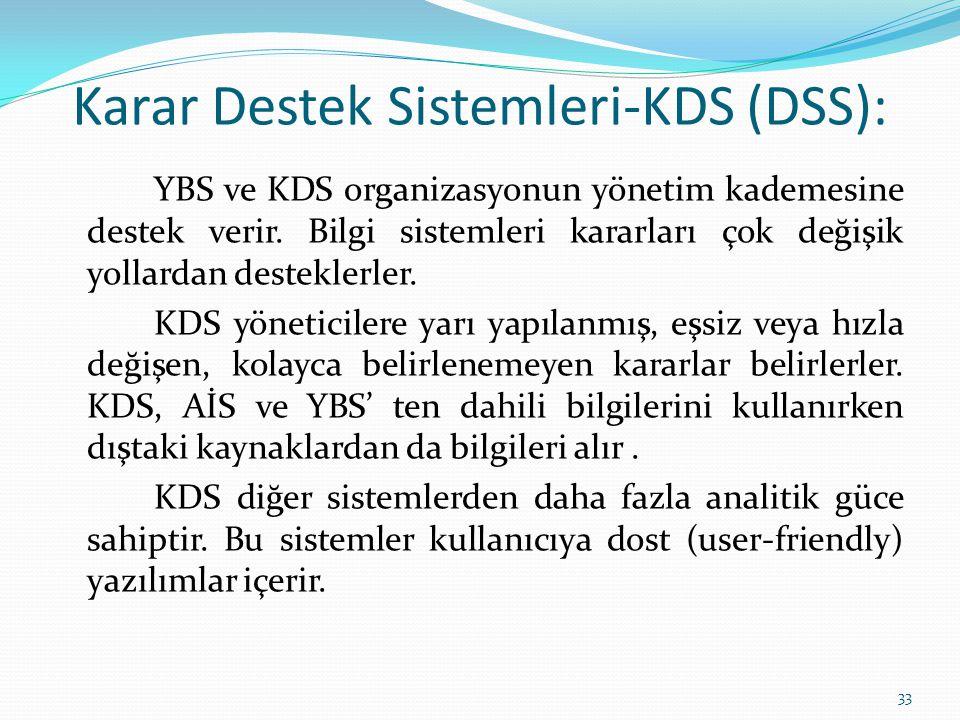 Karar Destek Sistemleri-KDS (DSS): YBS ve KDS organizasyonun yönetim kademesine destek verir. Bilgi sistemleri kararları çok değişik yollardan destekl