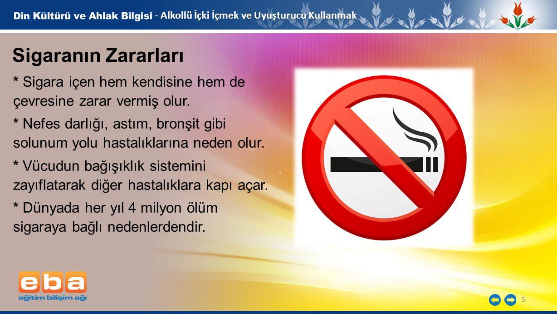 5 - Alkollü İçki İçmek ve Uyuşturucu Kullanmak * Sigara içen hem kendisine hem de çevresine zarar vermiş olur. * Nefes darlığı, astım, bronşit gibi so