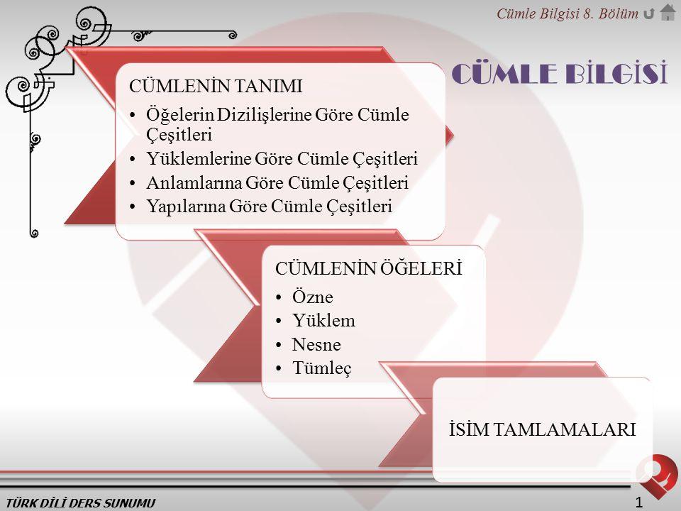 TÜRK DİLİ DERS SUNUMU Cümle Bilgisi 8.