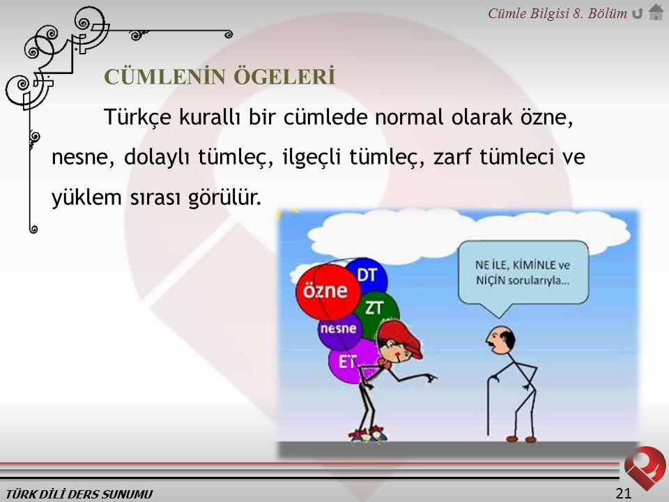 TÜRK DİLİ DERS SUNUMU Cümle Bilgisi 8. Bölüm 21 CÜMLENİN ÖGELERİ Türkçe kurallı bir cümlede normal olarak özne, nesne, dolaylı tümleç, ilgeçli tümleç,
