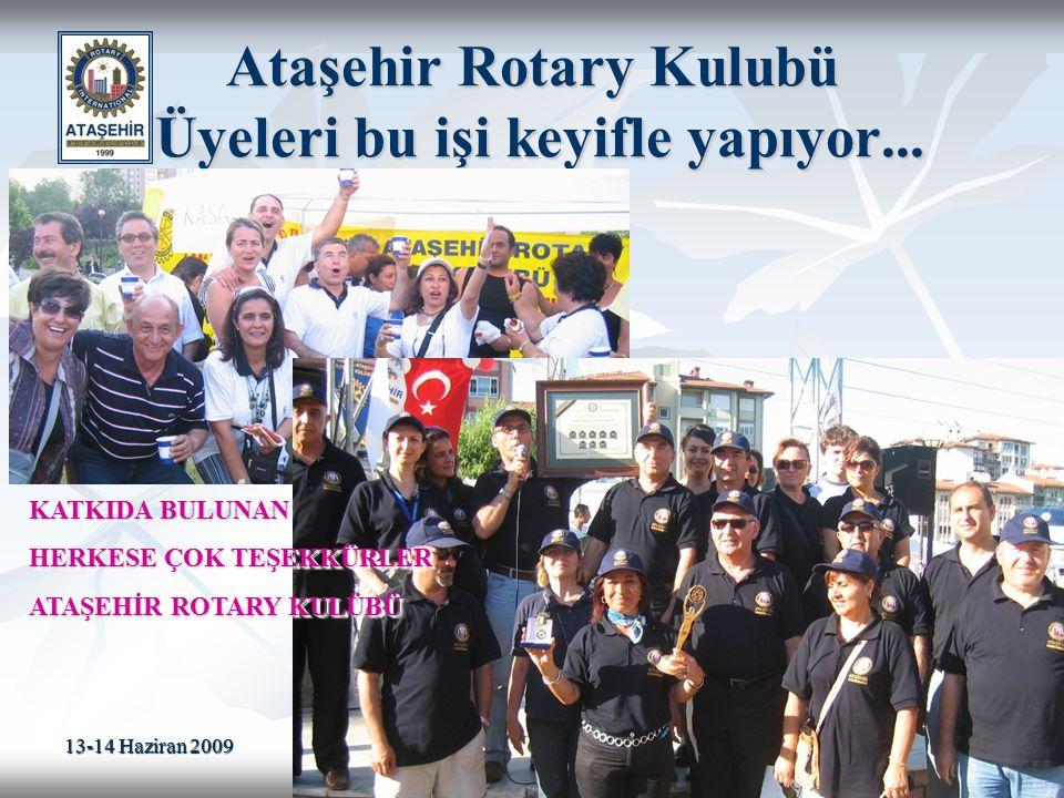 13-14 Haziran 2009 19 Ataşehir Rotary Kulubü Üyeleri bu işi keyifle yapıyor... KATKIDA BULUNAN HERKESE ÇOK TEŞEKKÜRLER ATAŞEHİR ROTARY KULÜBÜ KATKIDA