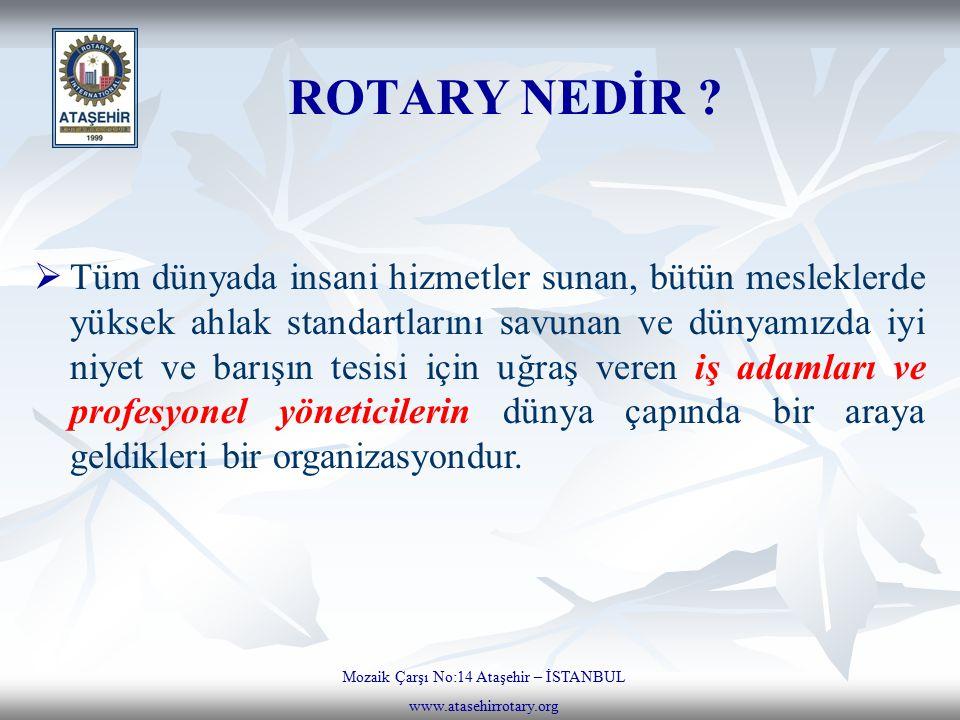 ROTARY NEDİR ? Mozaik Çarşı No:14 Ataşehir – İSTANBUL www.atasehirrotary.org  Tüm dünyada insani hizmetler sunan, bütün mesleklerde yüksek ahlak stan