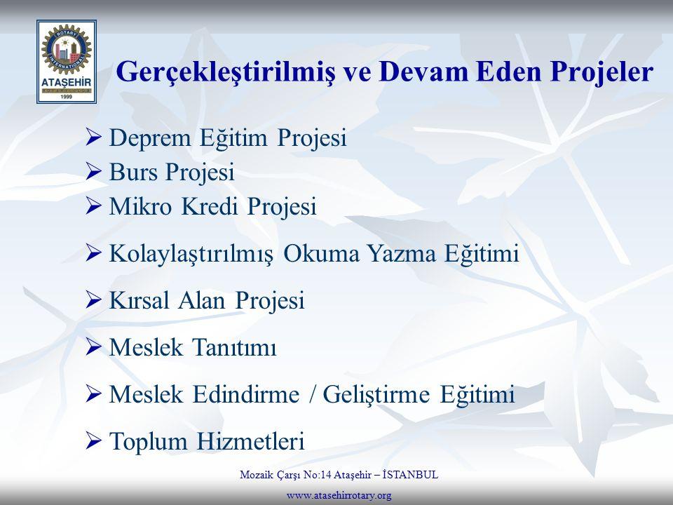 Gerçekleştirilmiş ve Devam Eden Projeler Mozaik Çarşı No:14 Ataşehir – İSTANBUL www.atasehirrotary.org  Deprem Eğitim Projesi  Burs Projesi  Mikro