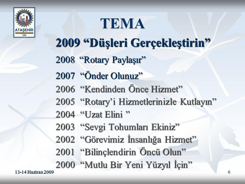"""13-14 Haziran 2009 6 TEMA 2009 """"Düşleri Gerçekleştirin"""" 2009 """"Düşleri Gerçekleştirin"""" 2008 """"Rotary Paylaşır"""" 2008 """"Rotary Paylaşır"""" 2007""""Önder Olunuz"""""""