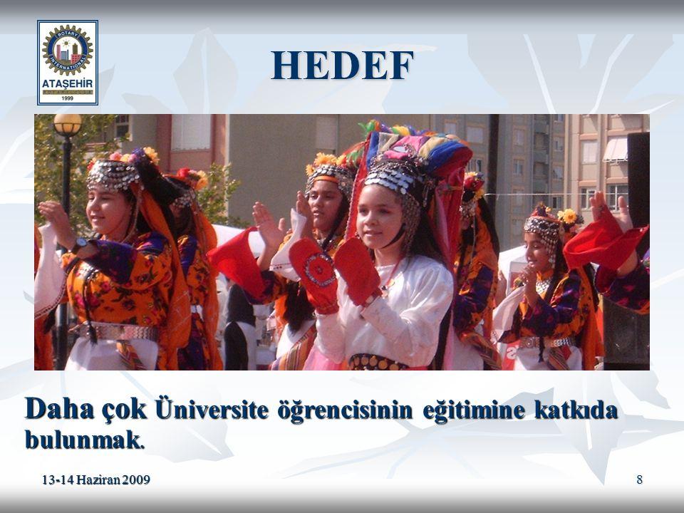 13-14 Haziran 2009 8 HEDEF Daha çok Üniversite öğrencisinin eğitimine katkıda bulunmak.