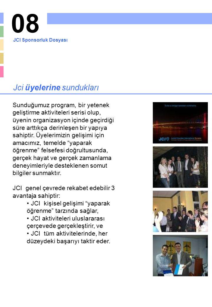 08 Jci üyelerine sundukları Sunduğumuz program, bir yetenek geliştirme aktiviteleri serisi olup, üyenin organizasyon içinde geçirdiği süre arttıkça de