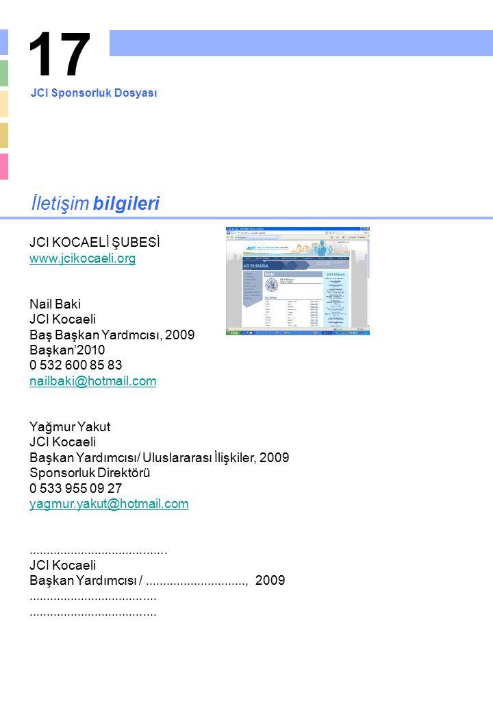 17 İletişim bilgileri JCI KOCAELİ ŞUBESİ www.jcikocaeli.org Nail Baki JCI Kocaeli Baş Başkan Yardmcısı, 2009 Başkan'2010 0 532 600 85 83 nailbaki@hotm