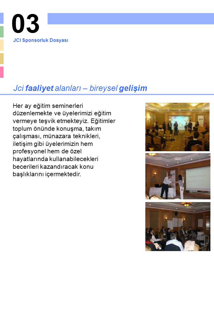 04 Jci faaliyet alanları – toplumsal faaliyetler Toplumda pozitif değişimi sağlamayı kendine amaç edinmiş JCI'ın diğer bir çalışma alanı topluma katkıda bulunacak projelerdir.