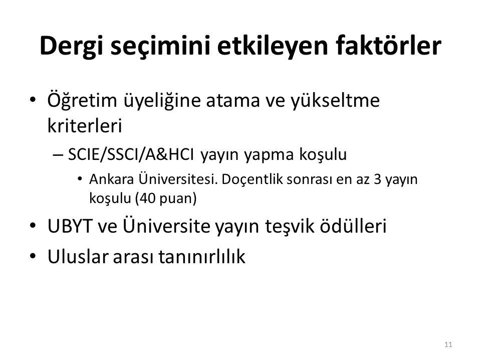 Dergi seçimini etkileyen faktörler Öğretim üyeliğine atama ve yükseltme kriterleri – SCIE/SSCI/A&HCI yayın yapma koşulu Ankara Üniversitesi. Doçentlik