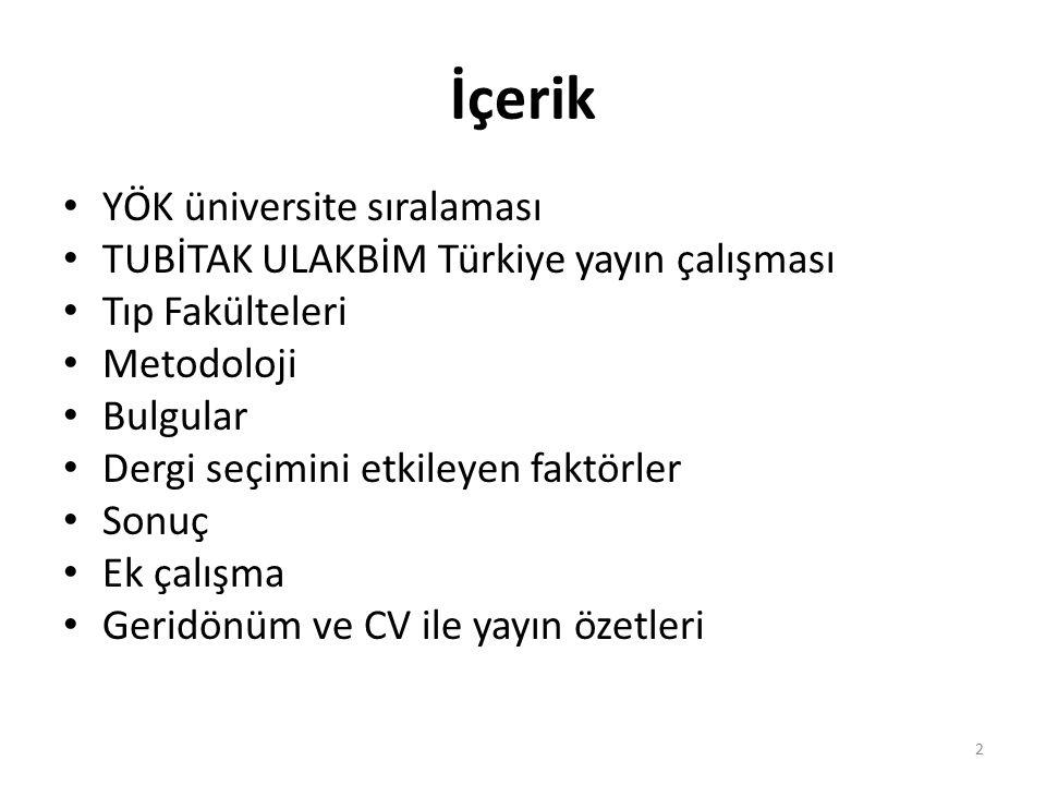 İçerik YÖK üniversite sıralaması TUBİTAK ULAKBİM Türkiye yayın çalışması Tıp Fakülteleri Metodoloji Bulgular Dergi seçimini etkileyen faktörler Sonuç