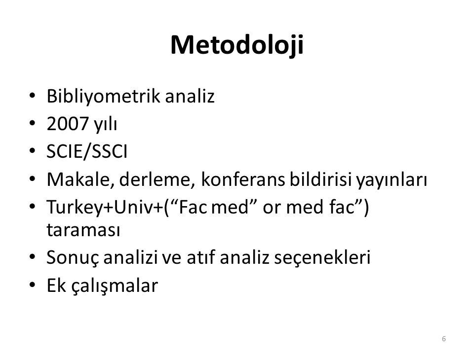 """Metodoloji Bibliyometrik analiz 2007 yılı SCIE/SSCI Makale, derleme, konferans bildirisi yayınları Turkey+Univ+(""""Fac med"""" or med fac"""") taraması Sonuç"""