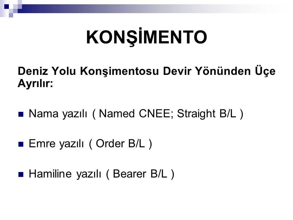 Nama Yazılı Konşimento (Named CNEE; Straight B/L ) Bu tip konşimentolar nadiren kullanılırlar.