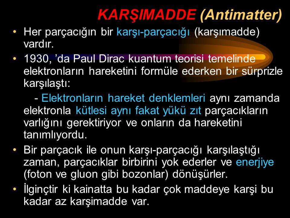 KARŞIMADDE (Antimatter) Her parçacığın bir karşı-parçacığı (karşımadde) vardır. 1930, 'da Paul Dirac kuantum teorisi temelinde elektronların hareketin