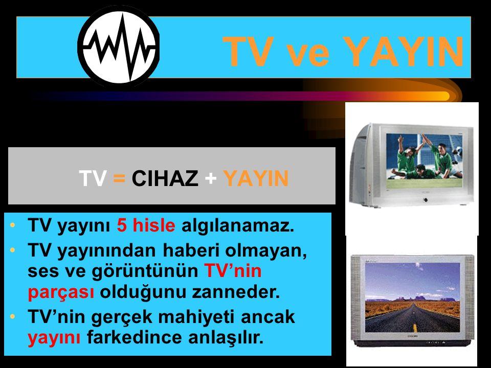 TV ve YAYIN TV = CIHAZ + YAYIN TV yayını 5 hisle algılanamaz. TV yayınından haberi olmayan, ses ve görüntünün TV'nin parçası olduğunu zanneder. TV'nin