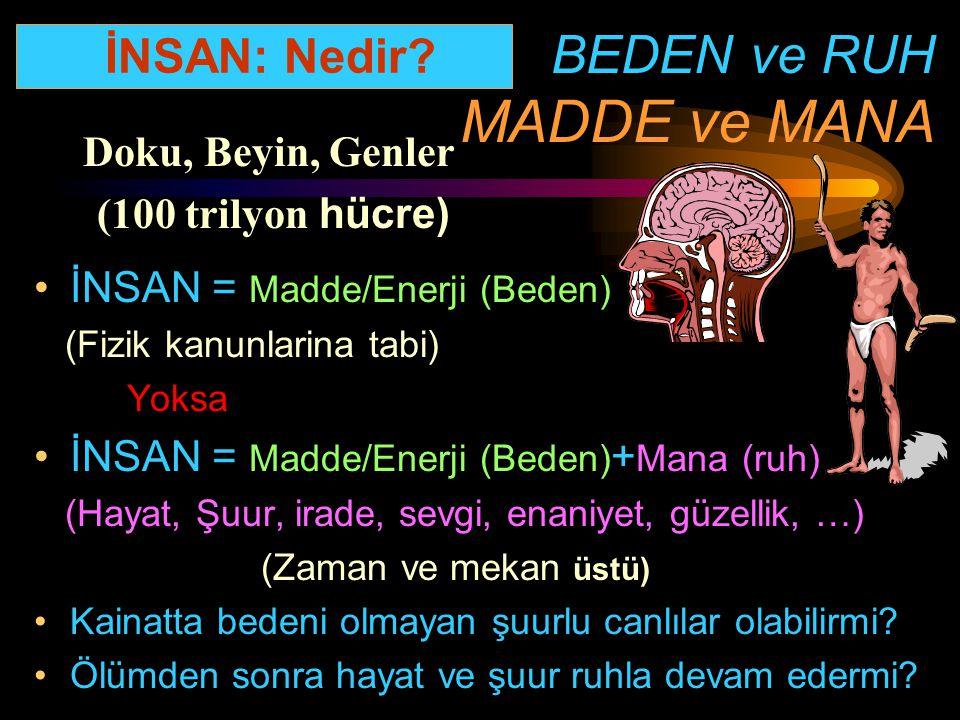 BEDEN ve RUH MADDE ve MANA İNSAN = Madde/Enerji (Beden) (Fizik kanunlarina tabi) Yoksa İNSAN = Madde/Enerji (Beden) + Mana (ruh) (Hayat, Şuur, irade,