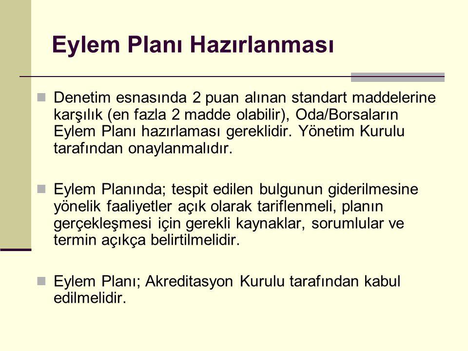 Eylem Planı Hazırlanması Denetim esnasında 2 puan alınan standart maddelerine karşılık (en fazla 2 madde olabilir), Oda/Borsaların Eylem Planı hazırla