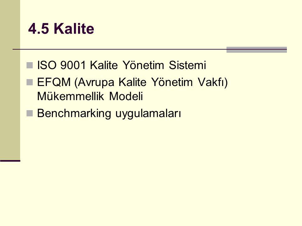 4.5 Kalite ISO 9001 Kalite Yönetim Sistemi EFQM (Avrupa Kalite Yönetim Vakfı) Mükemmellik Modeli Benchmarking uygulamaları