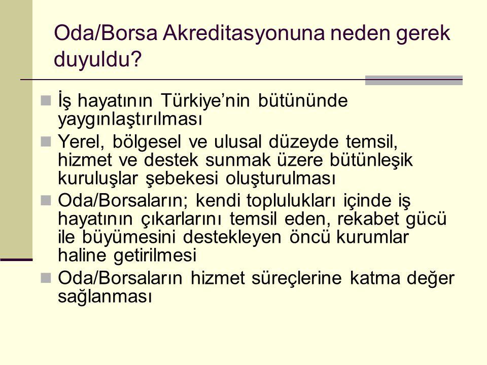 Oda/Borsa Akreditasyonuna neden gerek duyuldu? İş hayatının Türkiye'nin bütününde yaygınlaştırılması Yerel, bölgesel ve ulusal düzeyde temsil, hizmet
