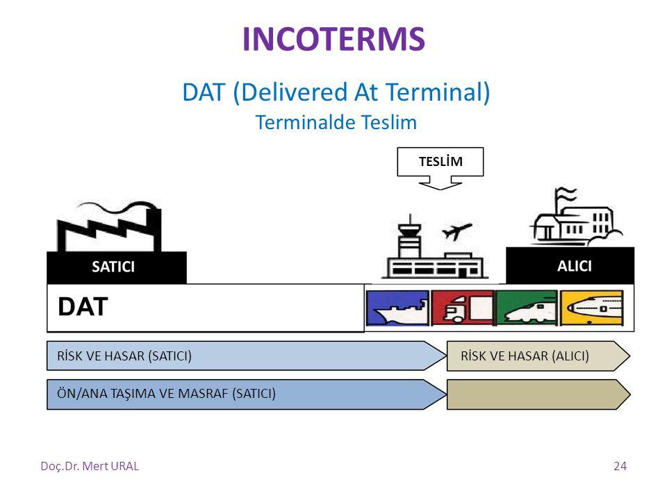 TESLİM DAT RİSK VE HASAR (SATICI) ÖN/ANA TAŞIMA VE MASRAF (SATICI) RİSK VE HASAR (ALICI) Doç.Dr. Mert URAL24 DAT (Delivered At Terminal) Terminalde Te