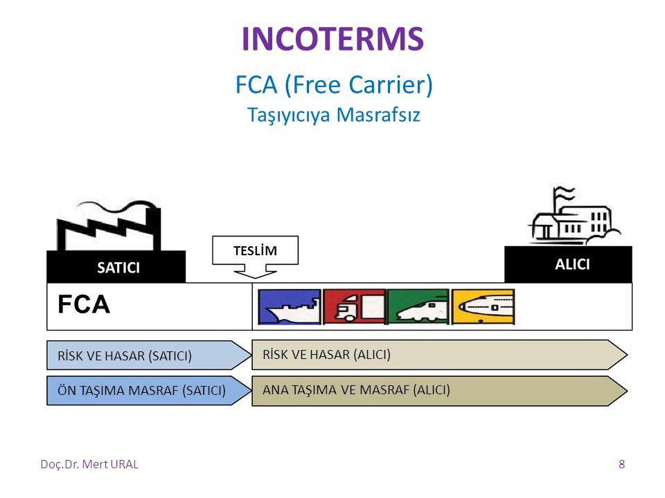 FCA (Free Carrier) Taşıyıcıya Masrafsız TESLİM FCA RİSK VE HASAR (SATICI) ÖN TAŞIMA MASRAF (SATICI) RİSK VE HASAR (ALICI) ANA TAŞIMA VE MASRAF (ALICI)